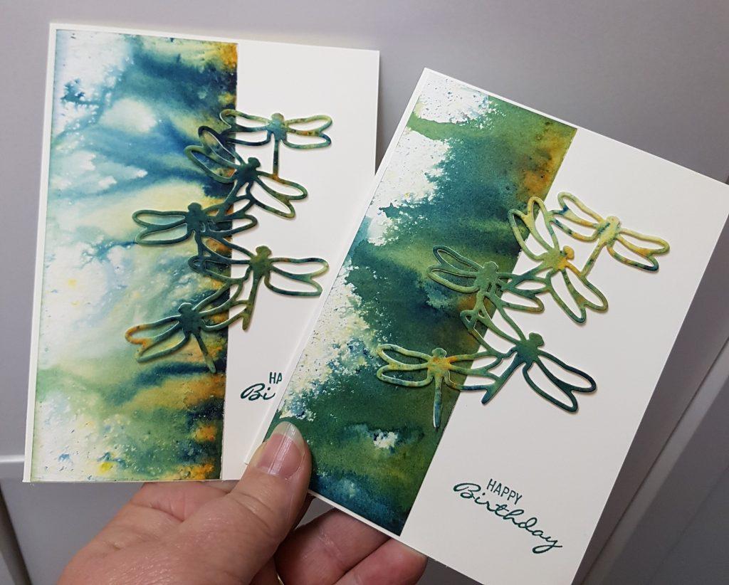 Brusho Dragonfly cards